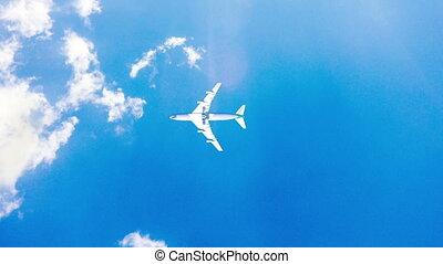 mouche, bleu, sky., ensoleillé, vidéo, avion, jour, boucle, chronocinématographie