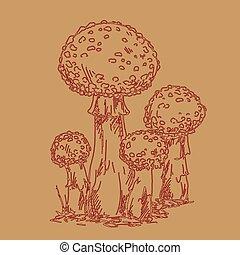 mouche, brun, famille, champignon, agaric, illustration, main, arrière-plan., vecteur, dessiné, design., ton, contour