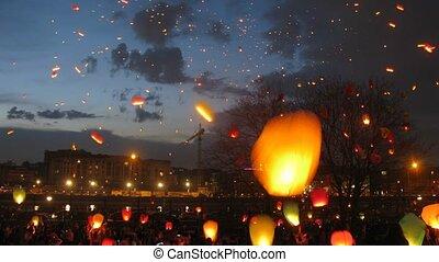 mouche, ciel, beaucoup, défaillance, nuit, céleste, lanternes, temps, petit