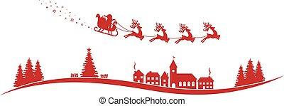 mouche, claus, renne, rouges, santa, traîneau, paysage