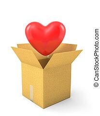 mouche, coeur, lire, boîte, carton, dehors
