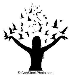 mouche, concept, silhouettes, femme, apprentissage, oiseaux