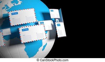 mouche, correspondance, lettres, beaucoup, là, livraison, internet, alpha, video., mail., circle., canal, worldwide.