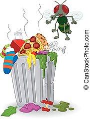 mouche, déchets ménagers, dessin animé, boîte