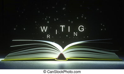 mouche, fermé, formulaire, pages, text., écriture, animation, lettres, livre ouvert, 3d
