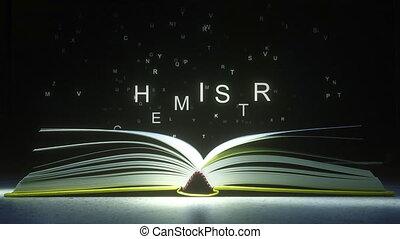 mouche, fermé, formulaire, text., pages, animation, lettres, chimie, livre ouvert, 3d