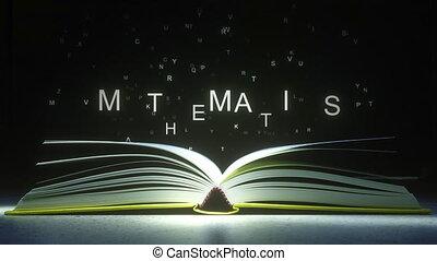 mouche, fermé, formulaire, text., pages, animation, lettres, mathématiques, livre ouvert, 3d