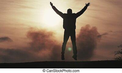 mouche, fermé, slo-mo, inspiré, sombre, champ, sauter, coucher soleil, essayer, homme