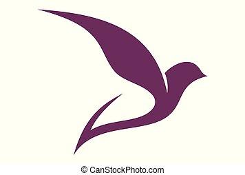 mouche, logo, résumé, colombe, oiseau