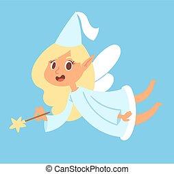 mouche, mignon, magie, ange, beauté, caractère, fée-conte, ailes, girl, vecteur, illustration, fée, adorable, princesse, baguette