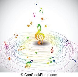 mouche, notes., coloré, vecteur, musique, fond