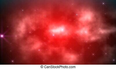 mouche, nuages, rouges, espace