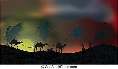 mouche, orage, sky., ouragan, feuilles, orages, arbres, poussière, sable, vecteur, paume, illustration, desert., pendant, travers