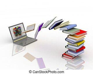 mouche, ordinateur portable, livres, ton