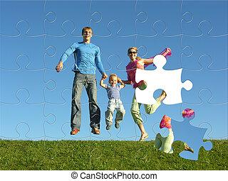 mouche, puzzle, famille, heureux