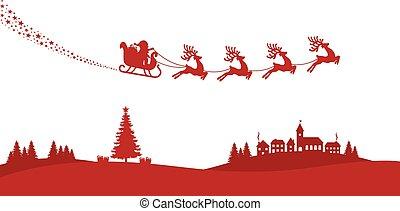 mouche, silhouette, renne, santa, traîneau, rouges