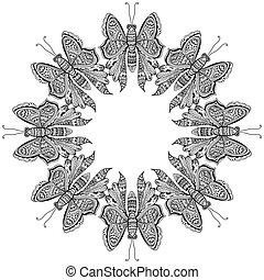 mouche, surprenant, papillons