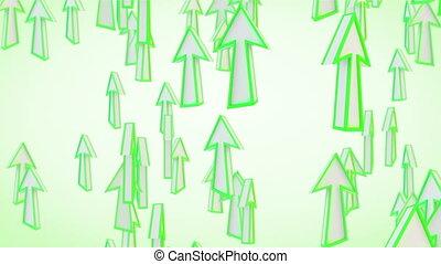 mouche, vert, flèches, boucle, ascendant