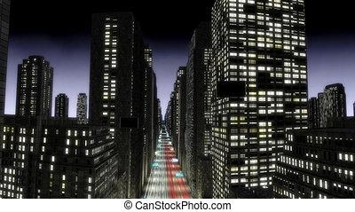 mouche, ville, écran, -, vert, nuit, prêt, boucle