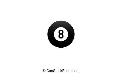 mouches, balle, centre, écran, nombre, billard, huit, directement, dessiné