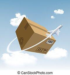 mouches, box., autour de, avion, carton