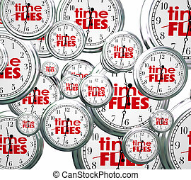 mouches, concept, passé, clocks, mots, temps, avenir, vitesse, présent, 3d