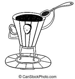 mouches, cuillère, espace, voler, grande tasse café, soucoupe
