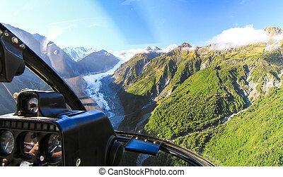 mouches, island., glacier, zealand's, sur, renard, il, poste pilotage, hélicoptère, nouveau, sud, vue