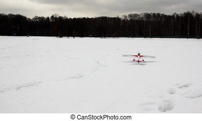 mouches, jouet, haut, neige, radio-controlled, avion