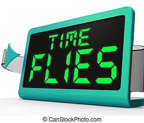 mouches, occupé, moyens, horloge, rapidement, va, temps