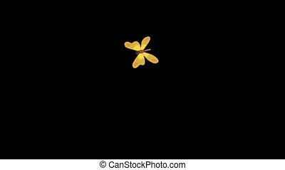 mouches, papillon, jaune, alpha