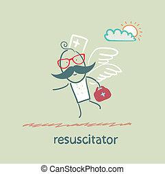 mouches, patient, resuscitator