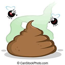 mouches, poupe, tas, stinky, deux