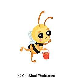 mouches, sien, illustration., seau, abeille, miel, vecteur, dessin animé, hands.
