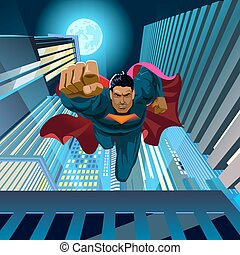 mouches, superhero, sauts, toit, appareil photo, fermé
