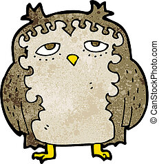 moudrý, dávný, karikatura, sova