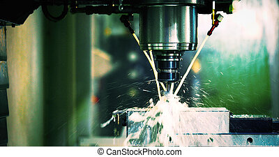 moudre, industrie, tour, métal, machine, cnc