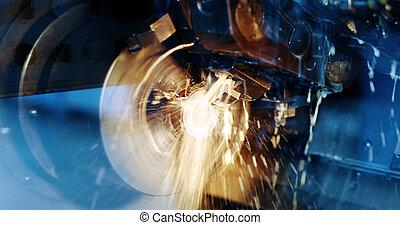 moudre, industrie, tour, métal, machine, cnc
