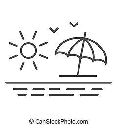 mouettes, concept, toile, plage blanche, signe, ligne, graphics., mer, icône, fond, concept, icône, levers de soleil, vue, mobile, soleil, style, contour, été, vecteur, design., parapluie, mince
