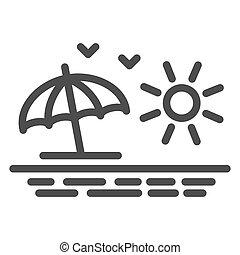 mouettes, concept, toile, plage blanche, signe, ligne, graphics., mer, icône, fond, concept, icône, levers de soleil, vue, mobile, soleil, style, contour, été, vecteur, design., parapluie