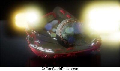 moufle, base-ball, fond foncé