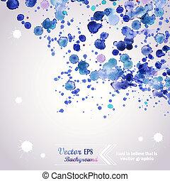 mouillé, éléments, album, illustration, résumé, aquarelles, aquarelle, vecteur, paper., couleurs, main, dessiné, fond, tache, composition