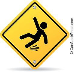 mouillé, avertissement, glissant, signe, plancher