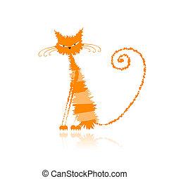 mouillé, chat, orange, ton, conception, rigolote