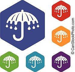 mouillé, hexahedron, vecteur, parapluie, icônes