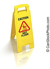 """mouillé, signe, floor"""", """"caution, -"""