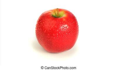 mouillé, tourner, pomme rouge