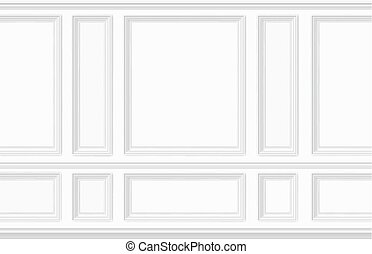 White wall decorated with moulding panels. Classic interior decor of the living room. Seamless vector background.
