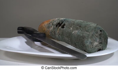 Mouldy white bread with a knife in the plate rotates in front of the camera