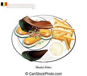 Belgian Cuisine, Illustration of Moules Frites or Traditional Steamed Mussels and French Fries. The National Dish of Belgium.